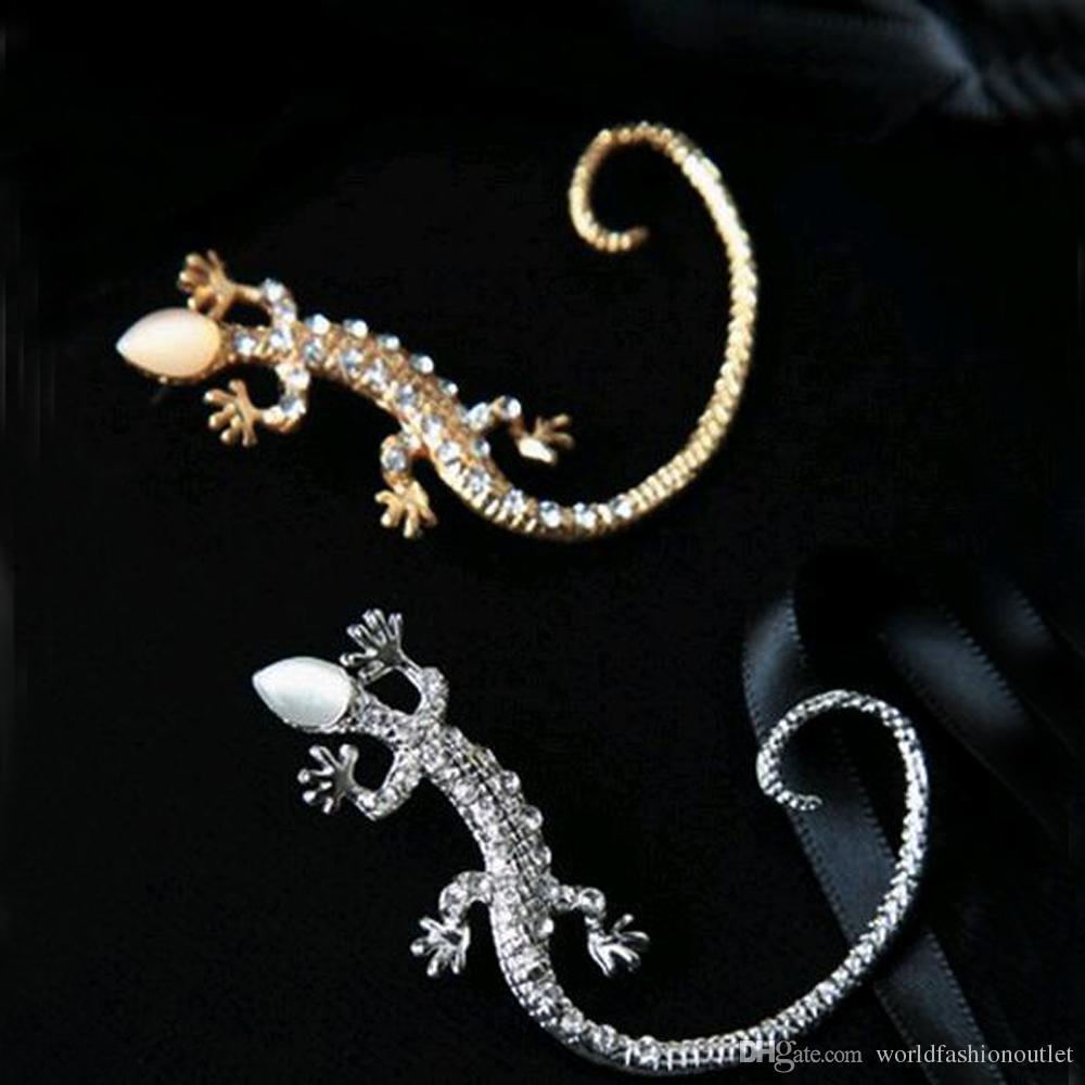Nova Earcuff Moda Ear Cuff Rhinestone brincos de prata banhado a ouro lagarto brincos super fofo clipe de cristal em brincos mulheres Jóias