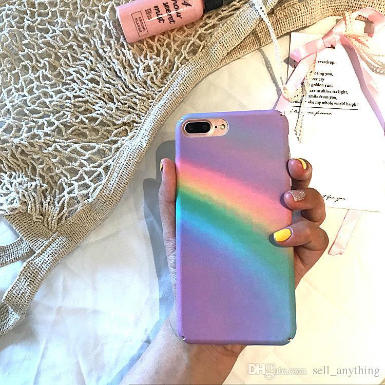Pour Iphone 6 Téléphone Cas Rainbow Fresh Art Creative Côté Motif Superposition PC Cas de Téléphone Mobile Pour Iphone 6s 7 6 Plus