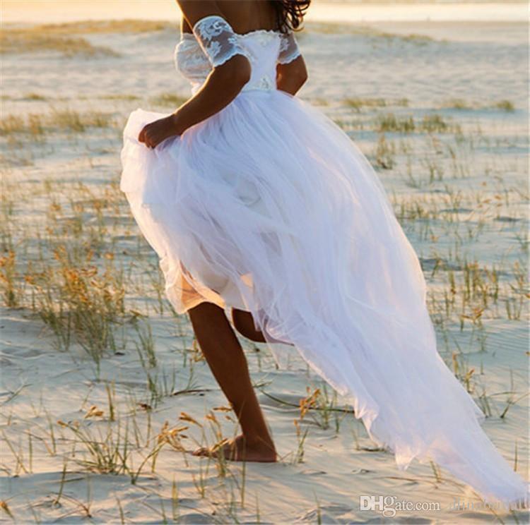 2016 New Arrival Praia A-Line Wedding Dresses Alças Lace manga curta vestidos de noiva Ruffle Chiffon baratos Robe De Mariage