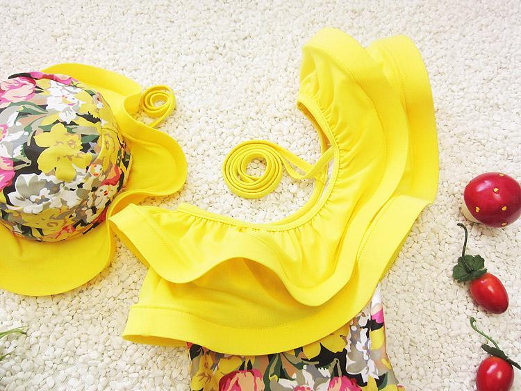 Traje de baño de una pieza traje floral para niños para niños niña niña niño trajes de baño de moda para niños traje de baño con gorra de natación