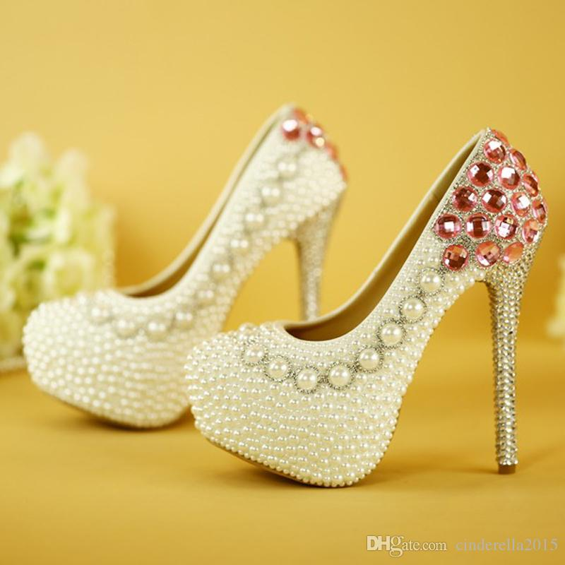 1a36f24c2cb Fashion White Pearl Wedding Shoes Luxury Pink Crystal Bridal Pumps  Beautiful Designer Wedding Party Stiletto High Heels Gina Wedding Shoes  Glitter Bridal ...