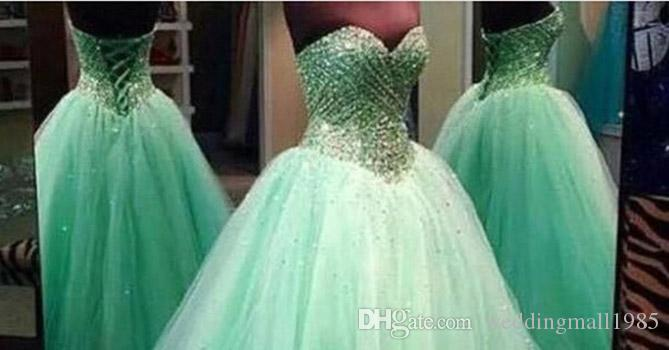 2016 New Quinceanera Dresses sexy strapless tutu Dress crystal beaded gauze long adult Prom Gowns beautiful luxury plus size