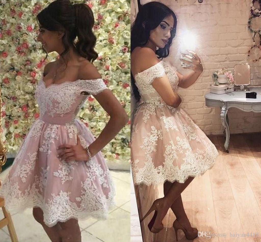 2017 New Sexy Homecoming Dresses Cap Sleeves Blush Pink White Lace