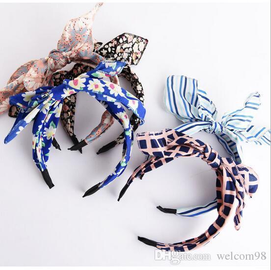 10 قطعة / الوحدة مزيج اللون ستايليل القماش bowknot رباطات هيرباند عقال للشعر مجوهرات هدية HJ035