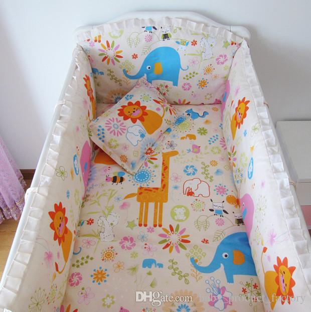 ترقية وظيفية! طقم سرير اطفال 6 قطع من الكرتون ، طقم سرير للطفل ، طقم سرير مصدات + ورقة + وسادة