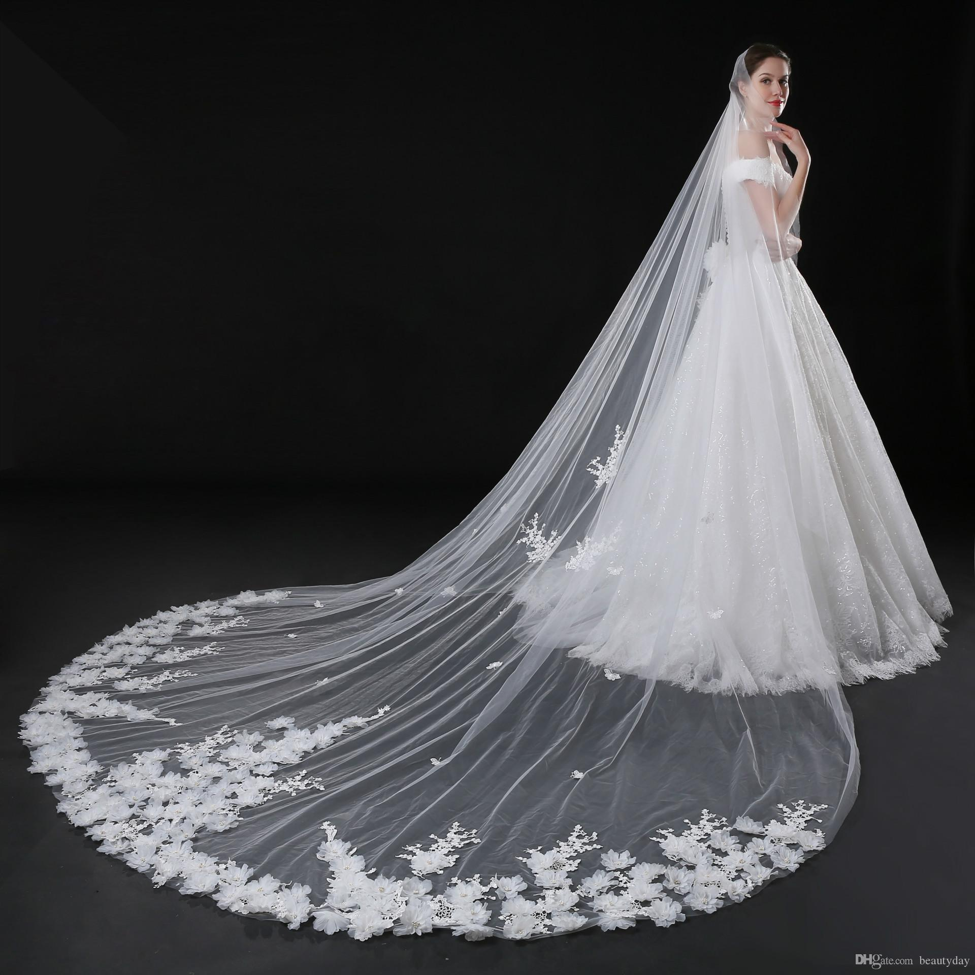 Cathedral Bridal Veils For Wedding Dress Bridal Gown 3D Flowers Soft Tulle White Ivory Tulle One Layer With Comb 5 Meters In Stock