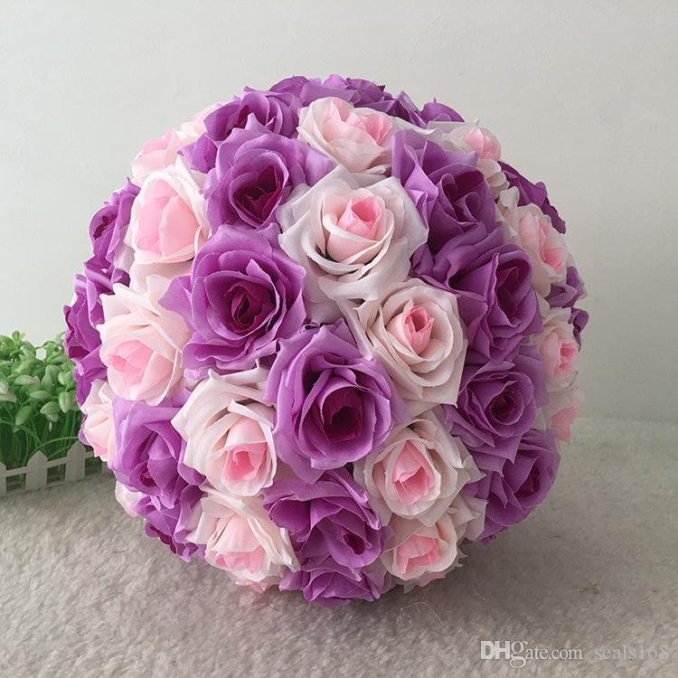 16 Farbe Künstliche Blumen Rose Balls Küssen Ball Schmücken Blume Hochzeit Garten Markt Party Dekoration Weihnachtsgeschenk HH7-167