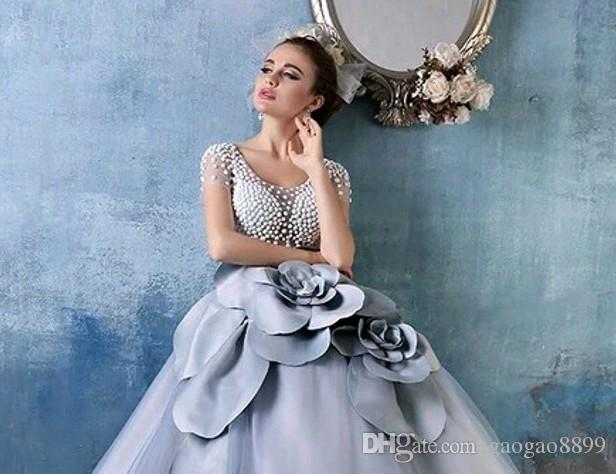 Cinderella Dusty Blue Debutante Ball Gowns Luxury Pearls 3D floral Short Sleeves Full length Princess Quinceanera Dresses Sweet 15 Girls