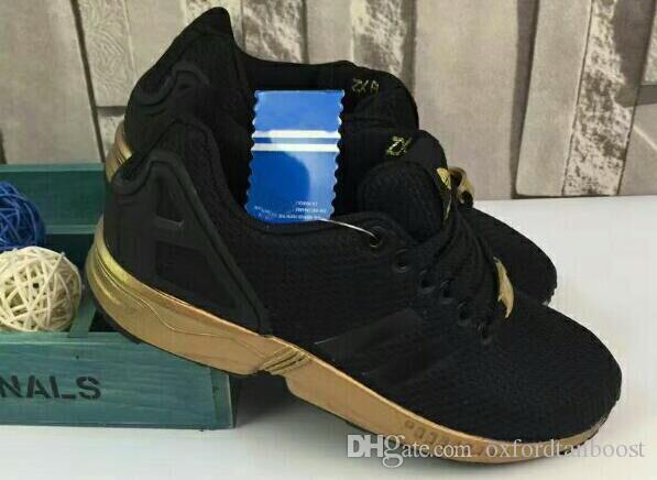 b78c8bb8f47fe 2016 Men Women Originals Zx Flux Black Gold Sport Shoes 36 44 With Shoes  Box Men Running Shoes Best Running Shoes From Oxfordtanboost
