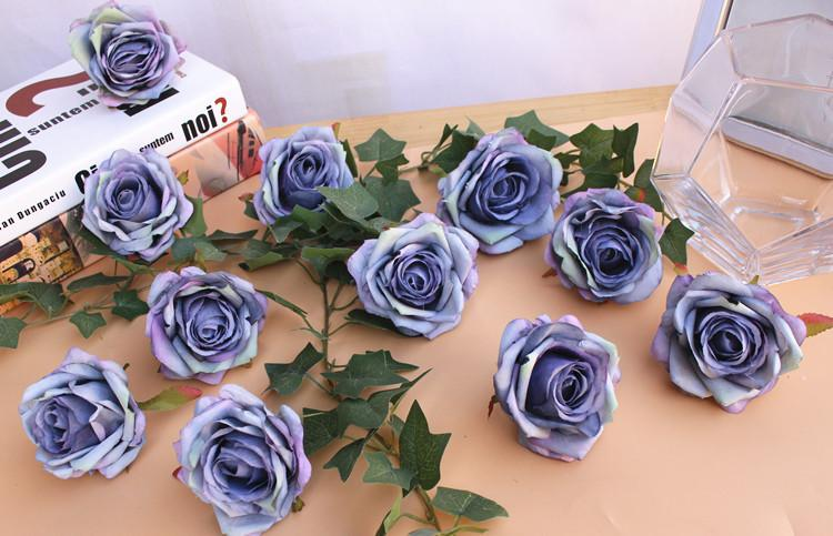 high quality 7cm artificial rose flower head wedding flower ball artificial silk flower Multi-layered petals pink& white& Champagne