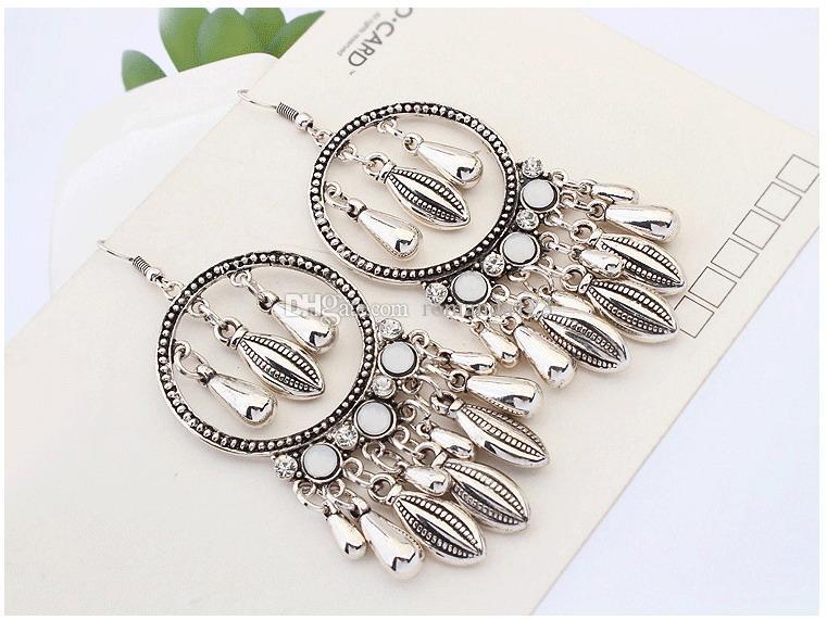 DHL New Fashion Retro Style dangle & chandelier earrings Drop and Leaf Tassels earrings Long Dangle Earrings For Women Jewelry