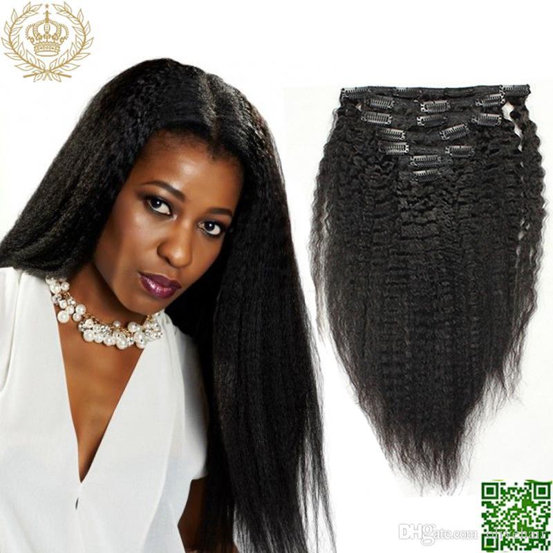Yaki Kinky Straight Clip In Human Hair Extensions Brazilian Hair