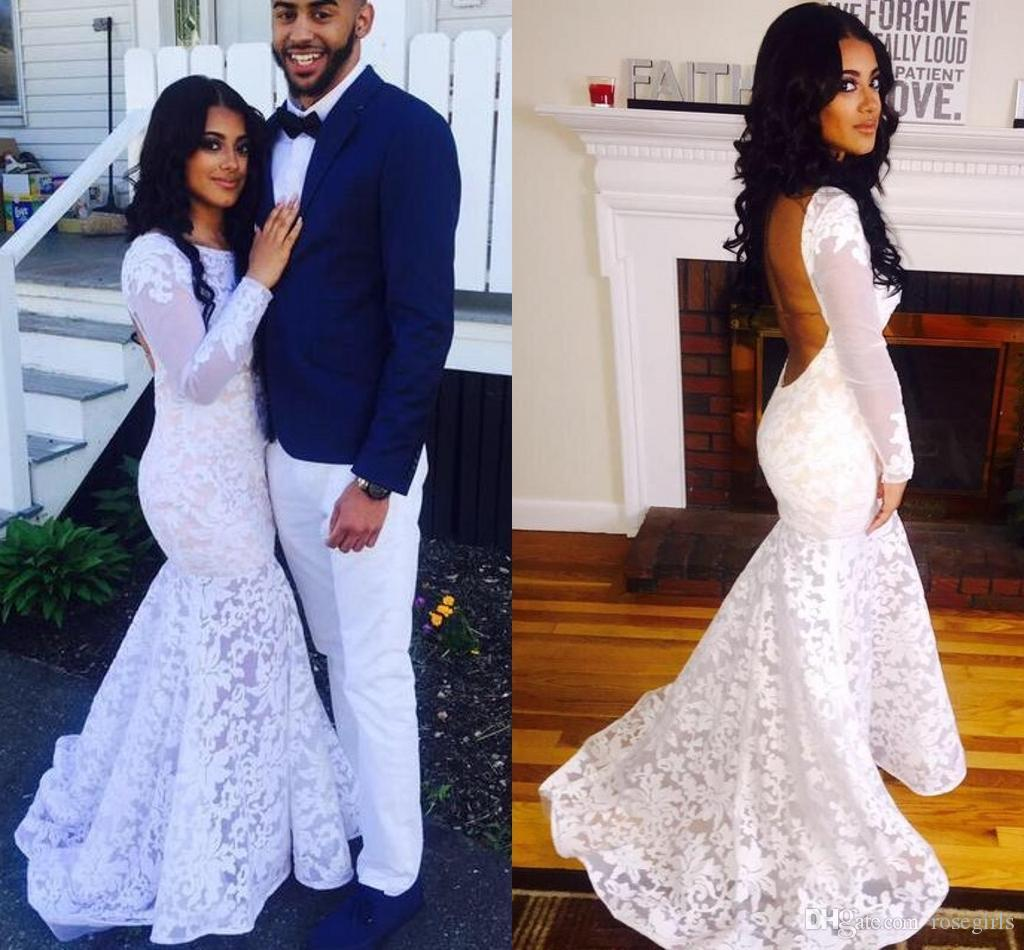 Sexy White Couples Fashion Mermaid Prom Dresses 2016 Lace Long Sleeve Backless Black Girl ...