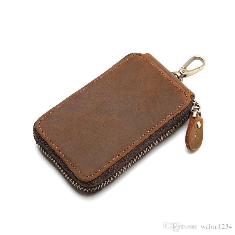 Vintage Cow Leather Key Holder For Men Brown Zipper Key Holder Housekeeper  Keys Organizer Car Key Holders Wallets Wallets For Women Man Bags From  Walon1234 1b6843f76