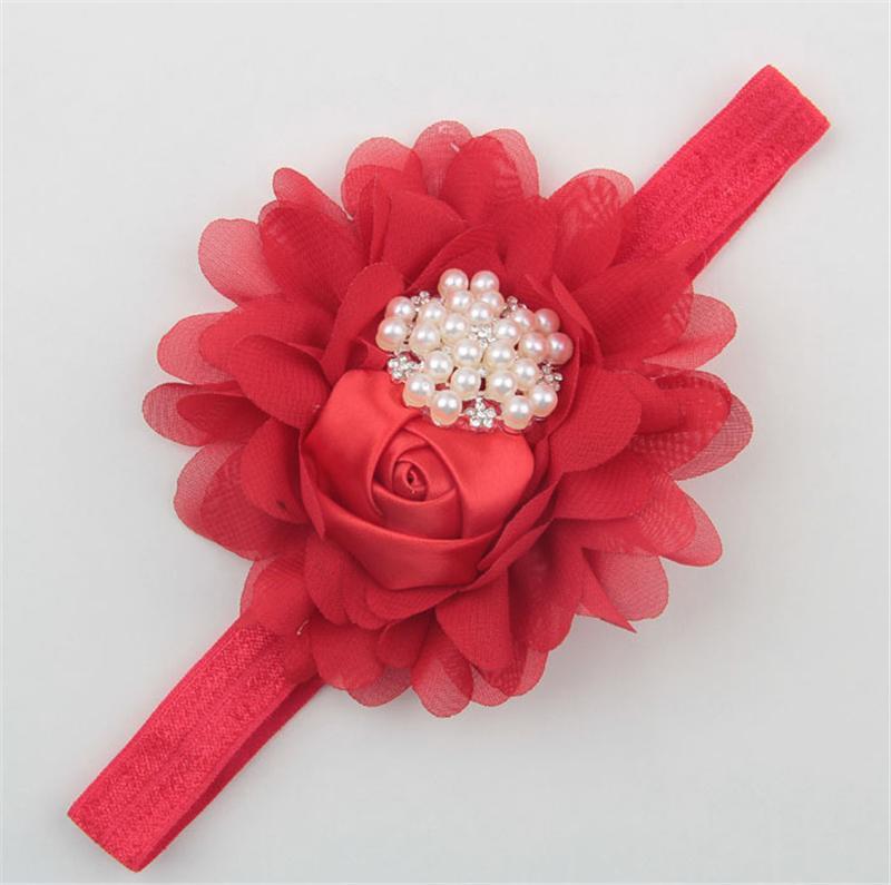 Baby Fasce Big Flowers Strass neonate che indossano la fascia capelli rosone in raso tessuto bambini Bambini accessori capelli boutique KHA296