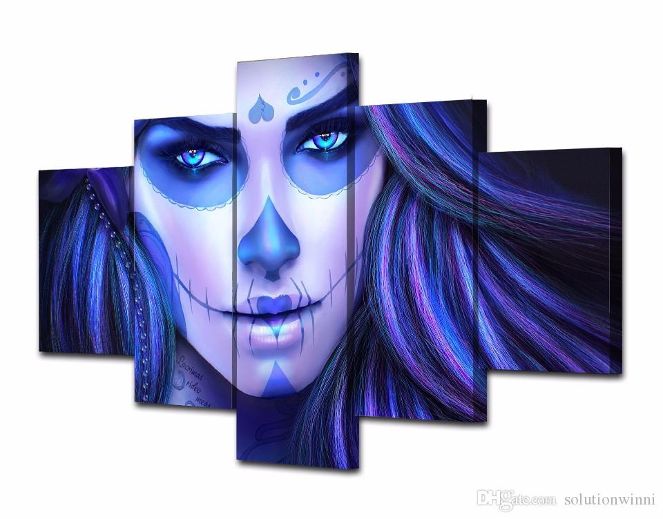 HD Printed Day of the Dead Face Group Painting room decor print poster picture canvas decoration oil art paintings