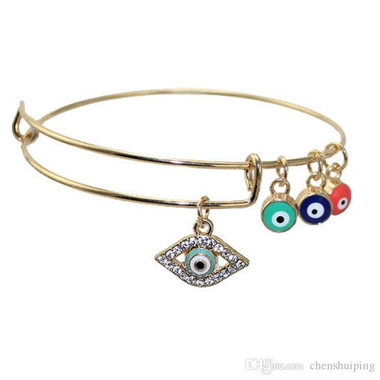 Bling Bling Hamsa Hand Blue Turkey Evil Eye Charm Bracelet Lucky Charm Amulet Bracelet Bangle Fashion Jewelry Hot Sale