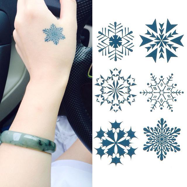 Neue Ankunft Schneeflocke Muster Wasserdichte Tattoo Aufkleber Günstige Beliebte DIY Body Art Schönheit Werkzeuge Kostenloser Versand