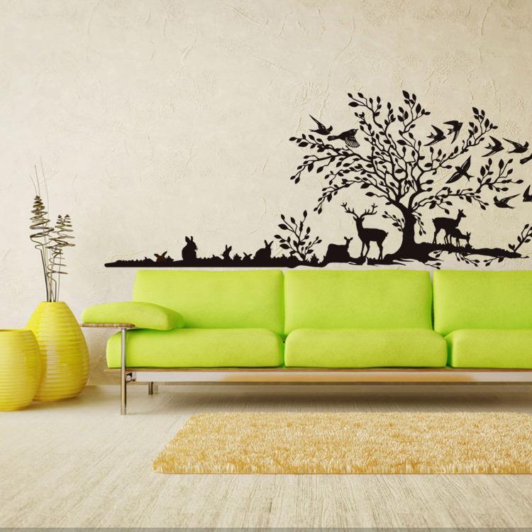 High Quality Diy Fashion Vinyl Tree Animal Living Room Background