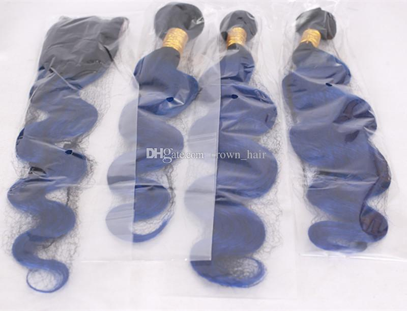 Ombre Blue Body Wave Hair Extension With Lace Closure 4x4 Two Tone 1B Blue Human Hair Weaves With Lace Closure