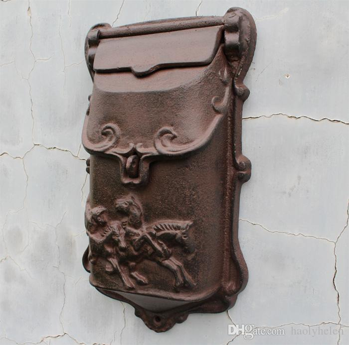 Small Rustic Cast Iron Mail Box Mailbox Metal Letters Post Box Wall Mounted Postbox Home Garden Yard Patio Courtyard Decor Horses Brown