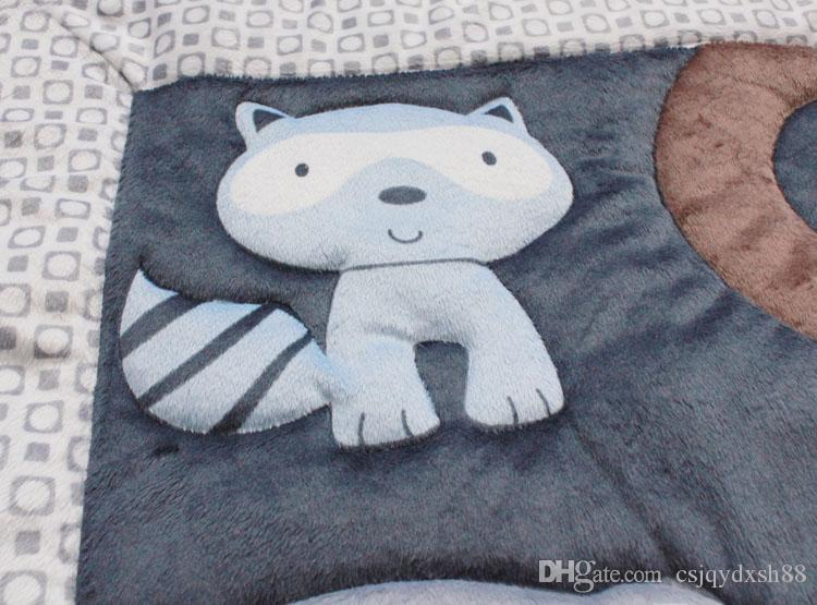Crib bedding set Embroidery 3D Animals elephants lion Baby bedding set Quilt Bumper bed Skirt Fitted Cot bedding set