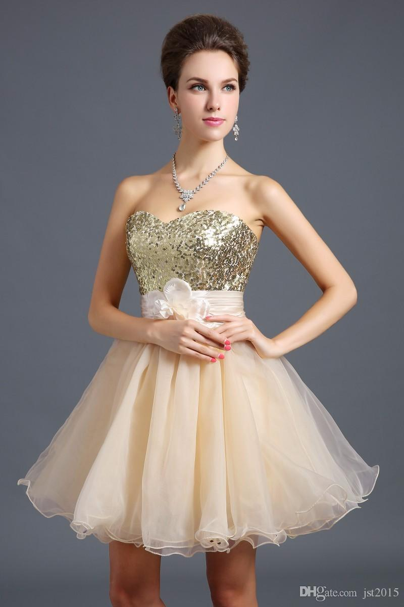 Cheap Price Fashion Sweetheart A Line Sequins Organza Prom Dress Short Homecoming Dress Stock Short in size Discount Zone