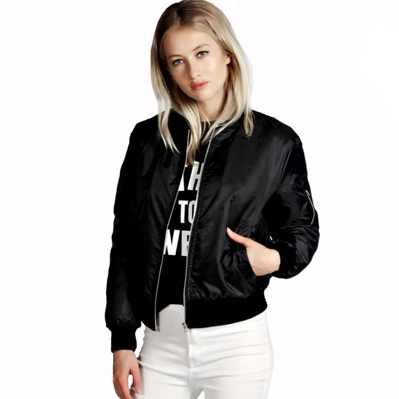 6af629648bf Plus Size Autumn Women Thin Jackets Tops MA1 Basic Bomber Jacket Long  Sleeve Coat Casual Stand Collar Slim Fit Outerwear Cotton Jacket Leather  Jacket With ...