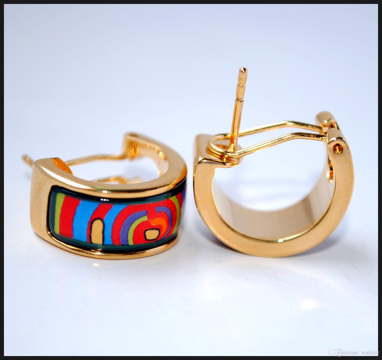 Life cycle series Hoop earring 18K gold-plated enamel earrings for woman Top quality hoop earrings designer jewelry