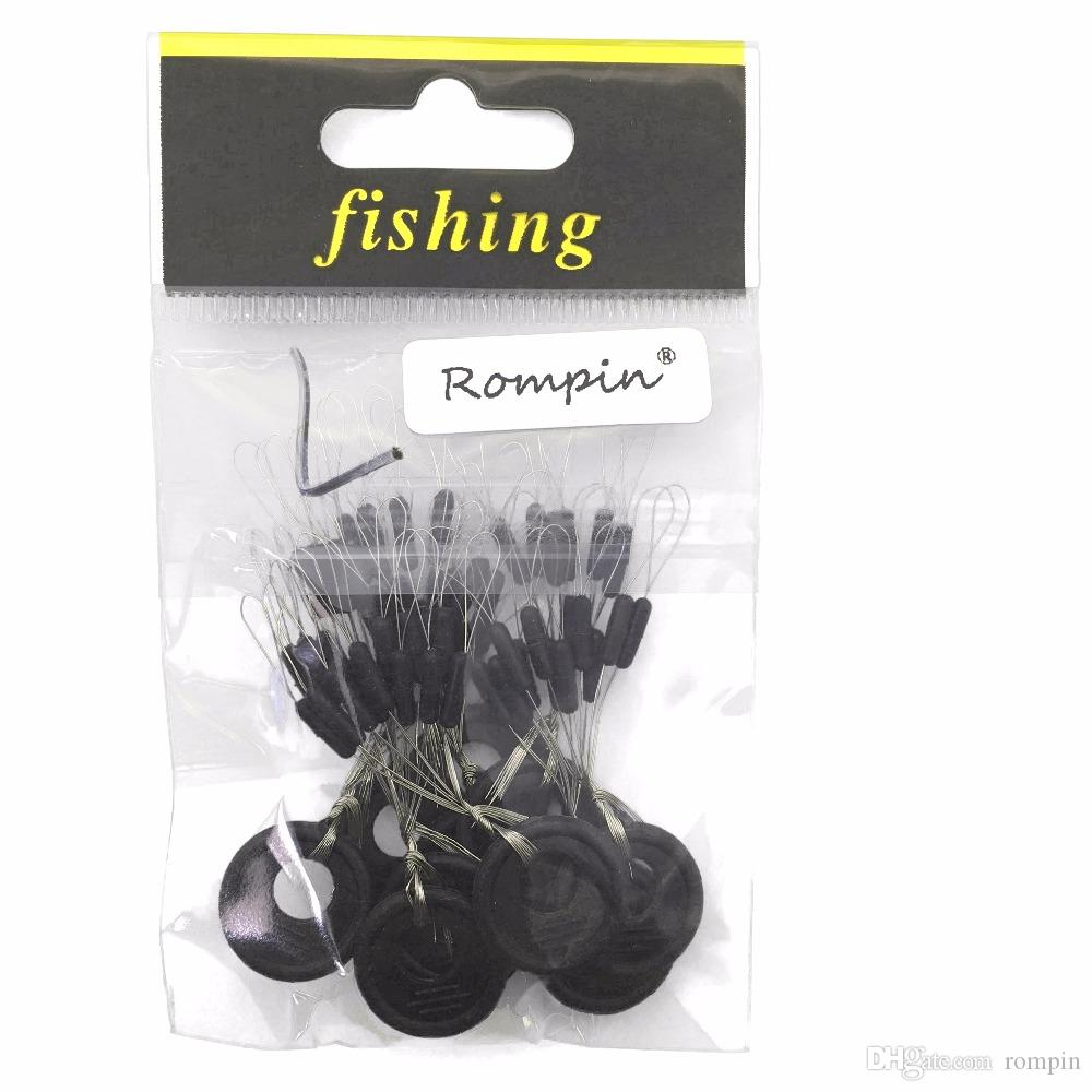 Rompin 10 шт. 6 в 1 Размер SS S M L Черный резиновый пробка для рыбалки Боббер Float Space Bean Plactper Folat Line Plactpers Bootber останавливается