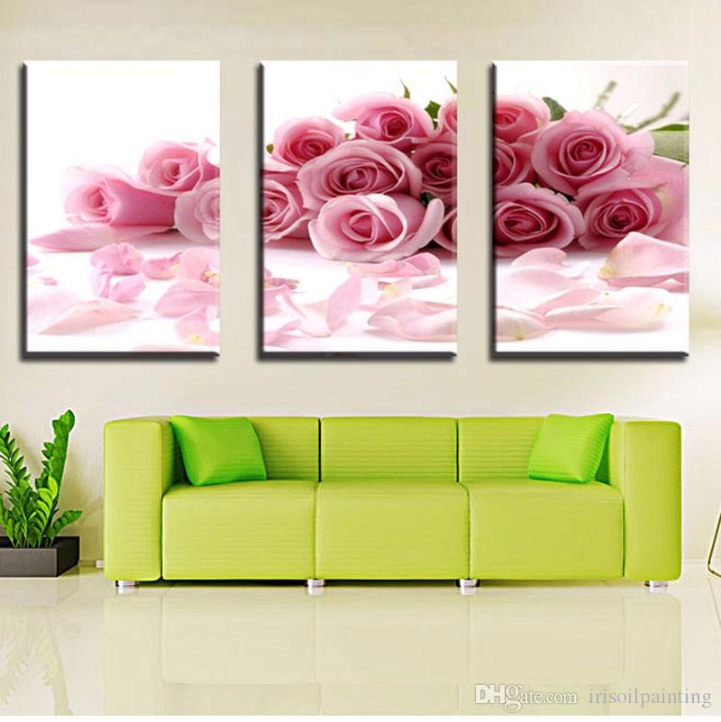 Peony Wall Art 2017 lk383 3 panel beautiful pink peony flower oil painting wall