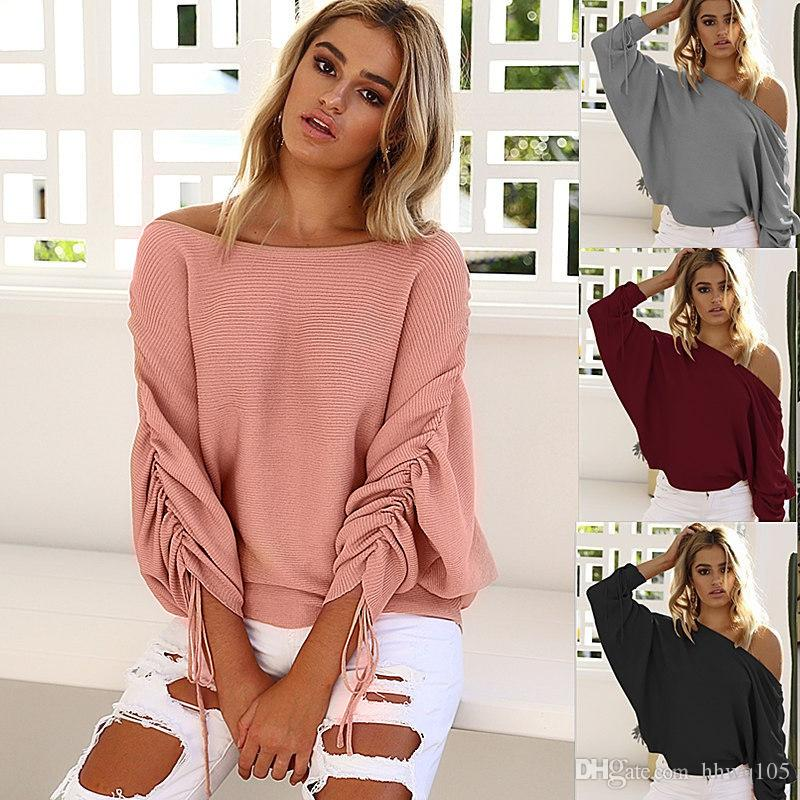 41149c2290fe5e 2019 2018 Fashion Knitwear For Women Slash Neck Batwing Sleeve Oversize  Pullover Knit Sweater Spring Summer Thin Blouses Clubwear DYG0916 From  Hhwq105