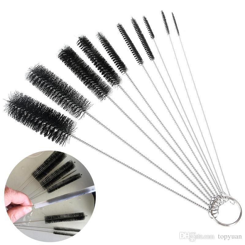 Set di pennelli in nylon da 10 pezzi Set di pennelli pulizia cannucce Occhiali da tastiera Pulizia gioielli Pulizia domestica