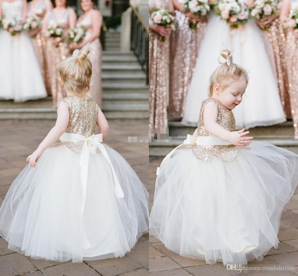 2016 New Cute Sequins Flower Girls Dresses For Weddings Jewel Ball Gown First Communion Dress Toddler Cupcake Girls Pageant Party Gown Cheap