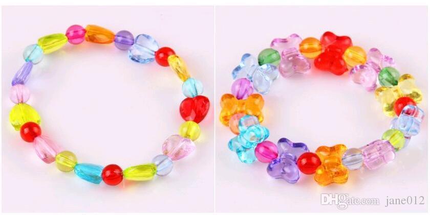 아이들을위한 다양 한 아크릴 비즈 어린이 팔찌 목걸이 DIY 골치 아픈 건된 보석 만들기 판매 상자에 대 한 다채로운 구슬