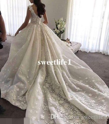Gorgeous 3D Flora Apliques Vestidos de novia 2019 Scoop Neck Zipper Volver Sweep Train Ball Ball Vestido para Iglesia Jardín Vestido de novia Por encargo