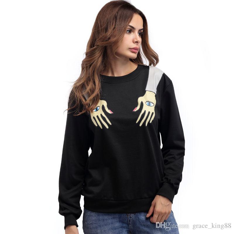 Herbst Neue Stil Augen Arm Neuheit 3 Druckmode Womens Langarm Oansatz Sweatshirt Jumper Kapuzenpullover Tops Bluse Mantel S-XL