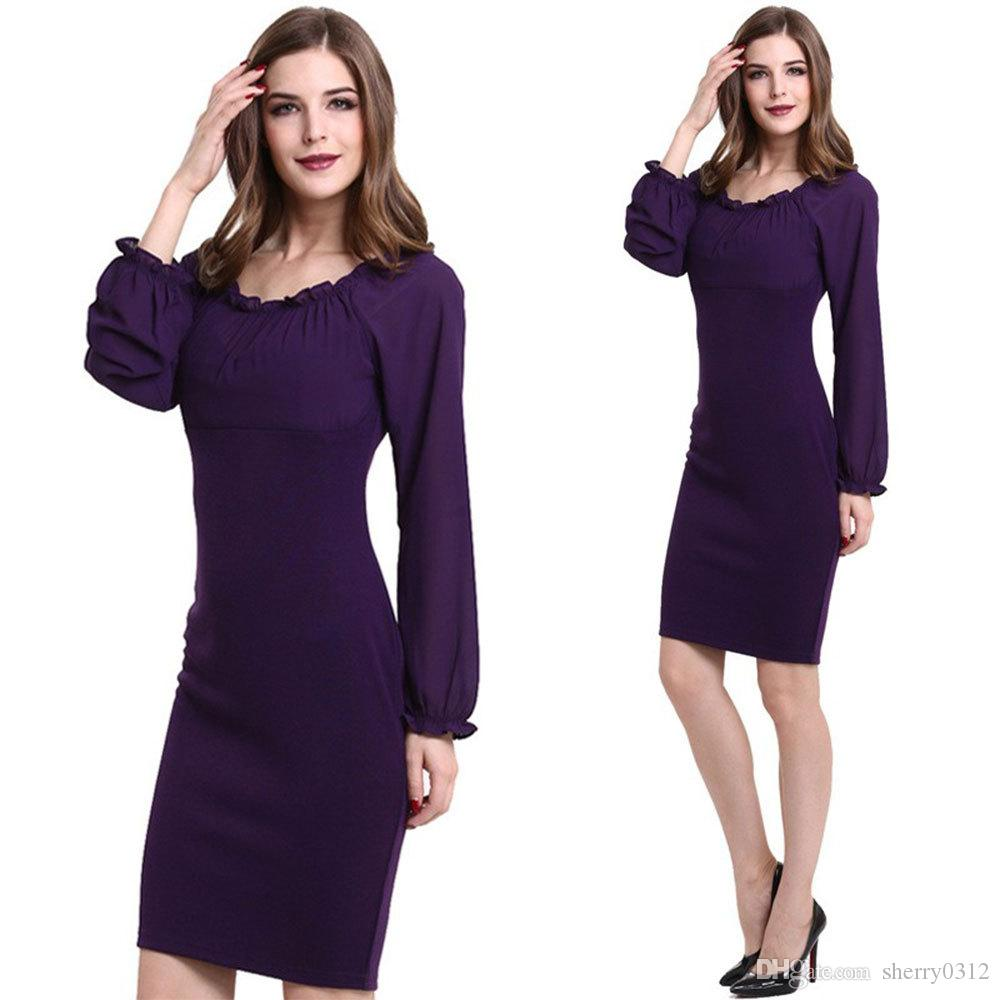 38b2d47de Compre 2016 Hot Ol Mujeres Lápiz Vestidos Bodycon Party Slim Formal  Business Dress Más Sizetunic Evening Linterna Manga Vestido De Té Marrón  Talla S 3xl A ...