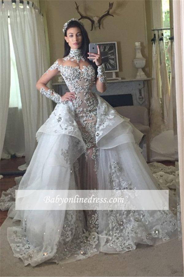 2019 luxus Meerjungfrau Brautkleider Mit Langem Zug Lange Illusion Ärmel Stehkragen Perlen Kristalle Tüll Gericht Zug Hochzeit Brautkleider