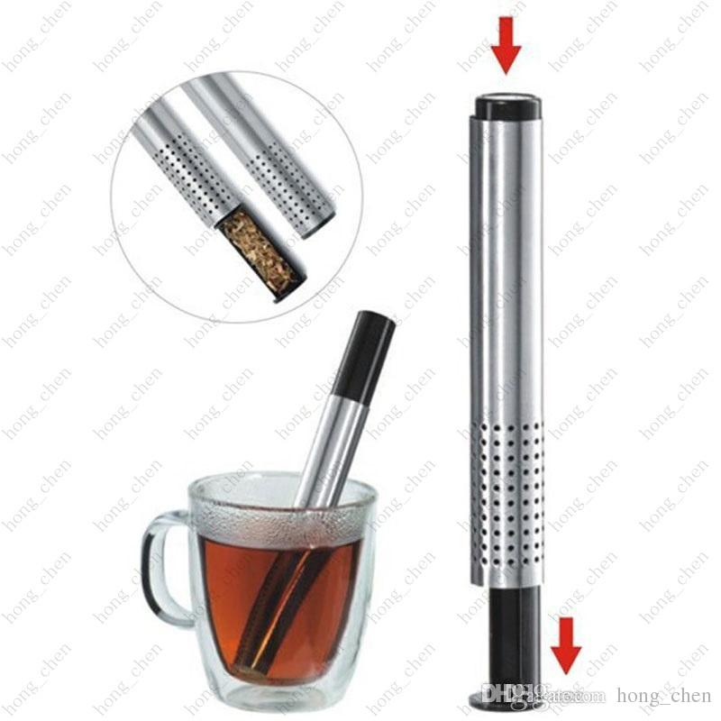 Tea Strainer Stick Stainless Steel Pipe Design Mesh Tea Filter Portable Tea Infuser Coffee Teapot Drinkware Tools
