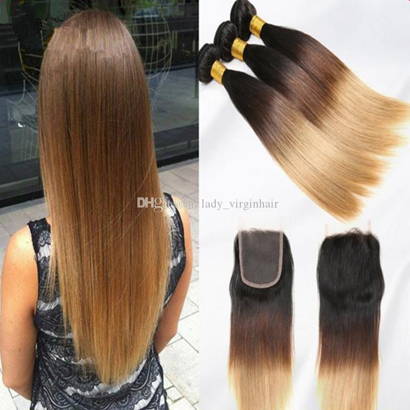 Brazilian Silky Straight Ombre Two Tone Hair Bundles With Lace