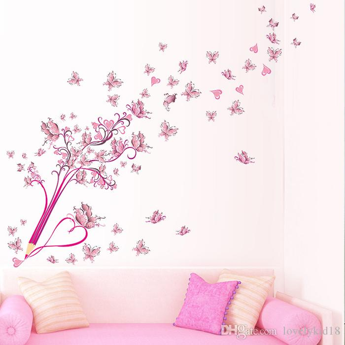 Pink Wall Decals novelty pink butterfly pencil wall stickers lovely flower wall