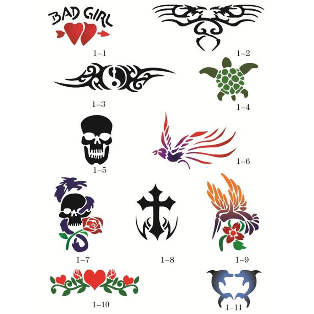 Großhandel 100 Designs Selbstklebende Body Art Tattoo Airbrush ...