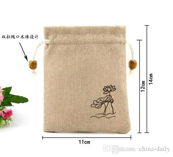 Free Ship 11*14cm Retro Countryside Linen Bag Sack Jewelry Earrings Necklace Bags Wedding Party Candy Beads Christmas Gift Bag