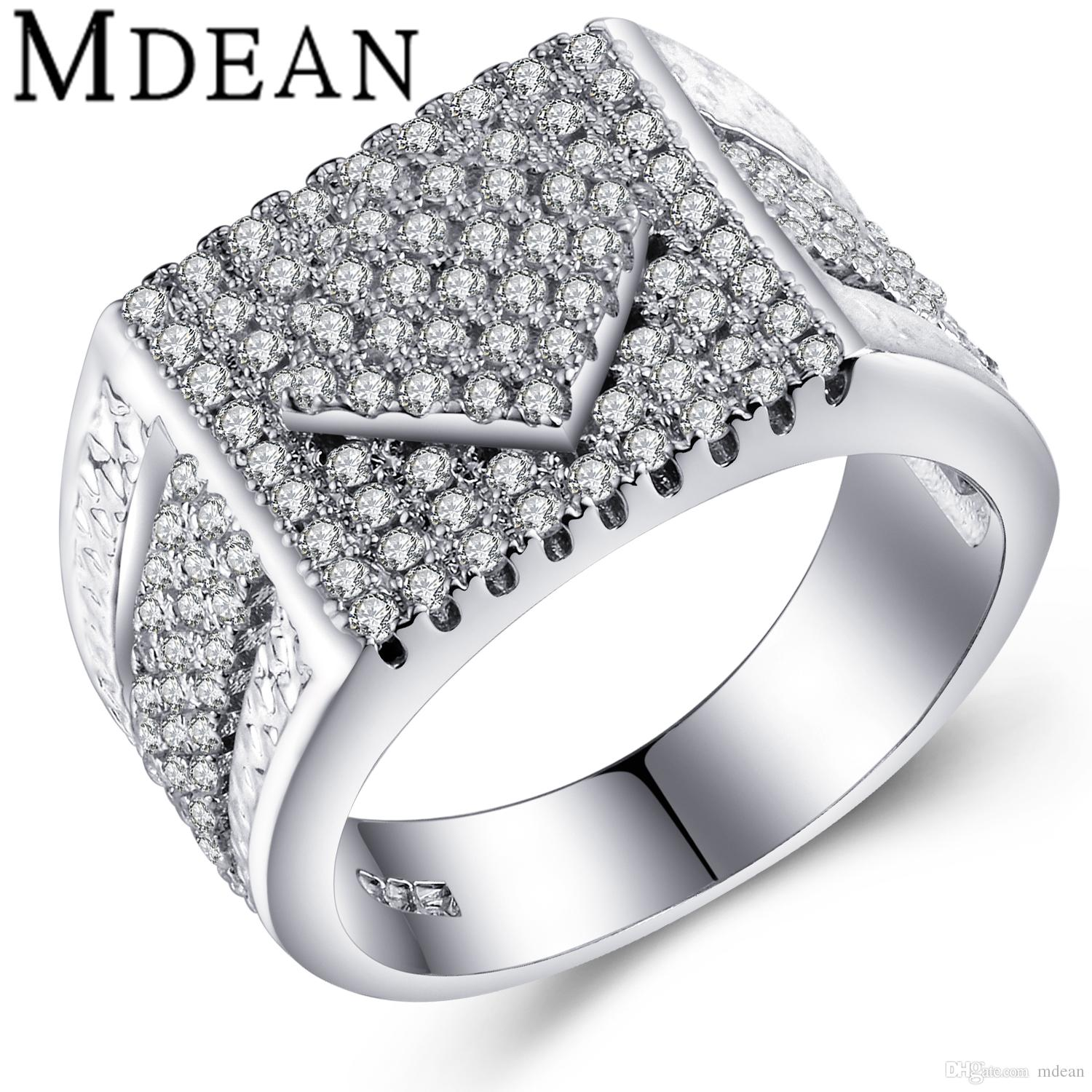 MDEAN Big Ring Square Design Punk Men Jewelry White Gold Plated ...