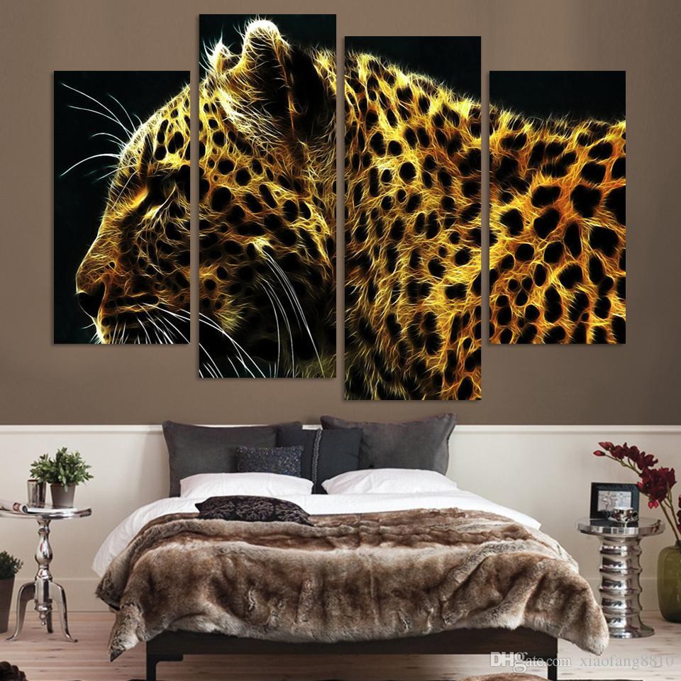 4 Panel Leopard Pictures Pintura Al Óleo Decoración de La Pared Lienzo Arte Pop Cuadros Alta Definación Impresiones Para la Sala de estar Sin Marco