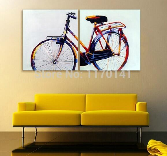 2018 Abstract Bicycle Paintings Decorated Oil Painting Handpainted ...