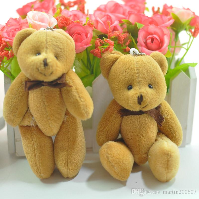11cm xCartoon Plush Mini Teddy bear Joint/Bow Tactic Bear Stuffed Pendants Dolls For Key chain/Bouquet/phone/Bag Gift