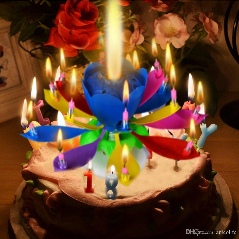 Anleolife music singing birthday candle musical lotus rotating happy anleolife music singing birthday candle musical lotus rotating happy birthday flower candle for cake decorative candles rainbow color cinnamon candles izmirmasajfo