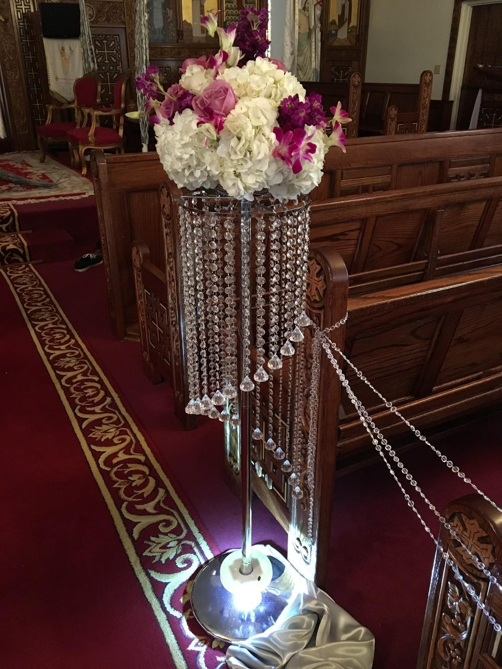 luxury fashion long crystal wedding flower stand walkway decor wedding road lead table centerpieces event party T- stand decoration 110cm